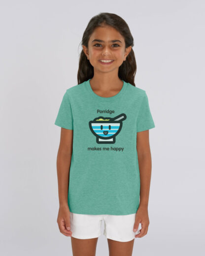 Girl Wearing Green Tshirt with Porridge Bowl