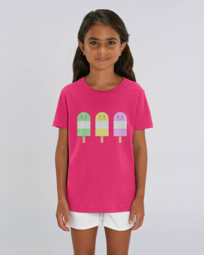 Girl Wearing Pink Tshirt with Ice Lollies