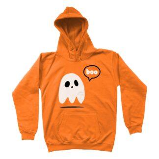 orange ghost unisex kids halloween hoodie