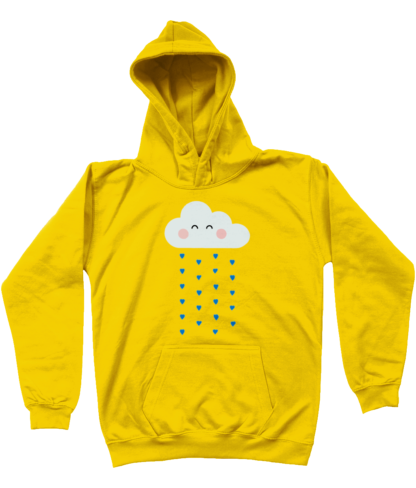 Unisex Kids Clothing Yellow Rain Cloud Hoodie