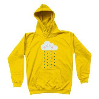 little rain cloud yellow unisex kids hoodie