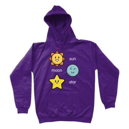 purple sun moon star unisex kids hoodie