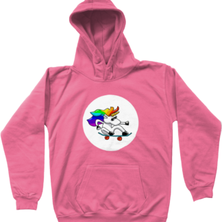 Unisex kids clothing skateboarding unicorn hoodie