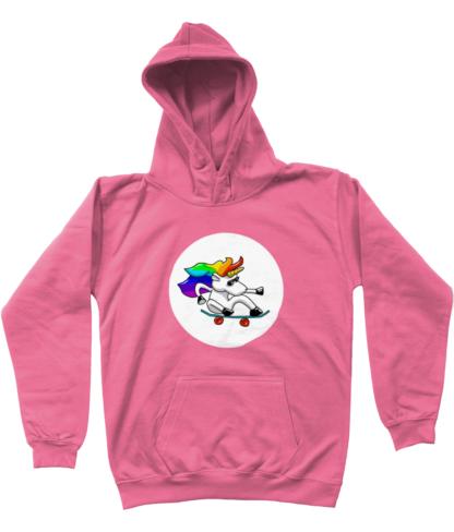 Unisex kids clothing skateboarding unicorn hoodie