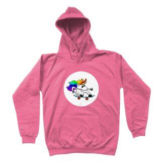skateboarding unicorn unisex kids hoodie