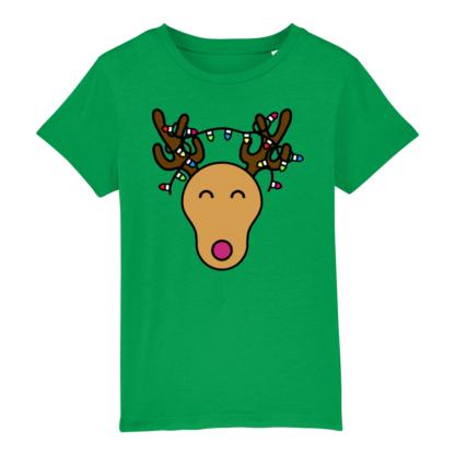 Green Unisex Christmas Reindeer Tshirt