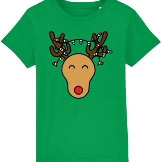 Green Christmas Reindeer Kids Tshirt