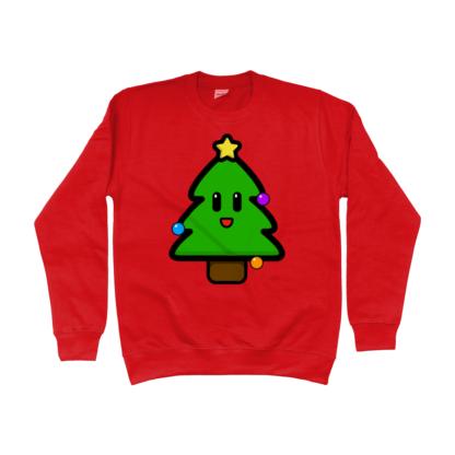 Unisex Red Christmas Tree Kids Jumper