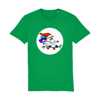 Unisex Green Christmas Unicorn Adult Tshirt