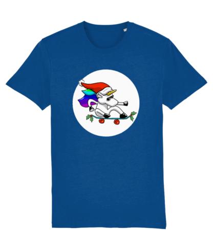 Blue Unisex Adult Christmas Unicorn Tshirt