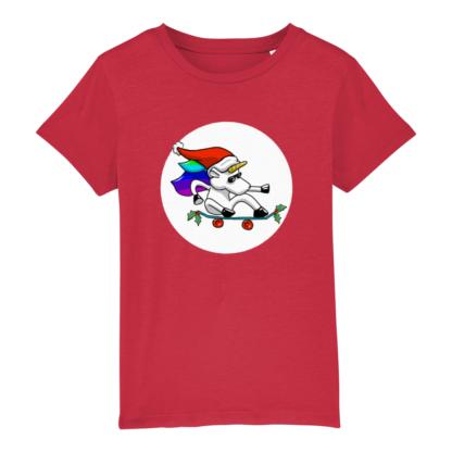 Unisex Red Christmas Unicorn Kids Tshirt