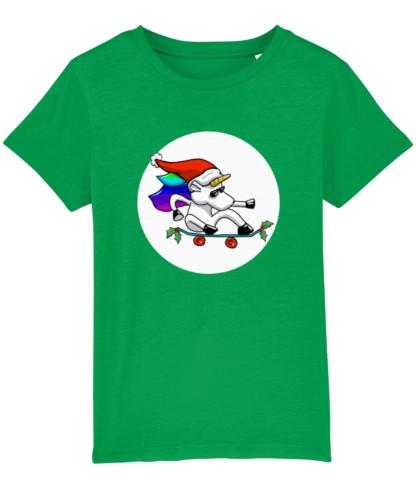Green Unisex Christmas Unicorn Tshirt