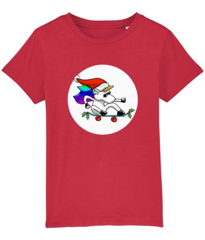 Red Christmas Unicorn Kids Tshirt