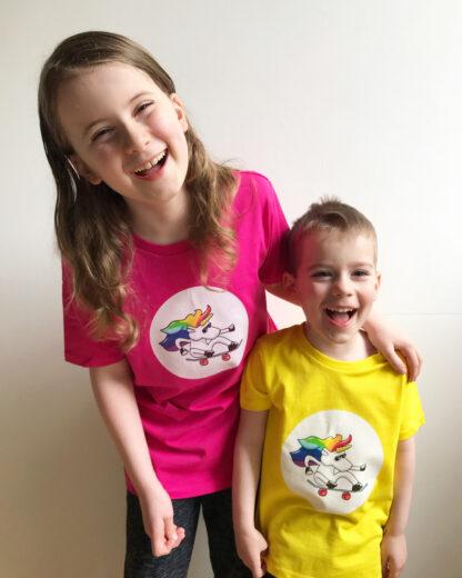 boys wearing unisex unicorn tshirt