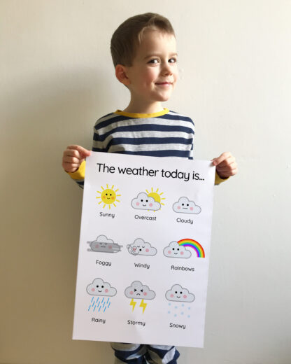 child with weather clouds print