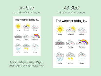 weather clouds print size chart